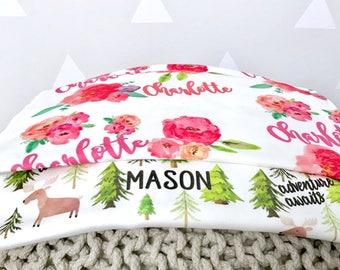 Lovey Size Personalized Blanket, Baby Blanket, Name Blanket, Custom Baby Security Blanket