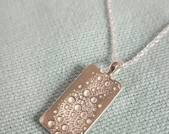 Silver necklace sea urchin texture rectangular pendant//solid silver necklace