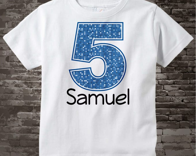 Fifth Birthday Onesie, Blue Number 5 5th Birthday Shirt, Personalized Boys Birthday Onesie, Blue Age and Name Tee for kids 12312013f