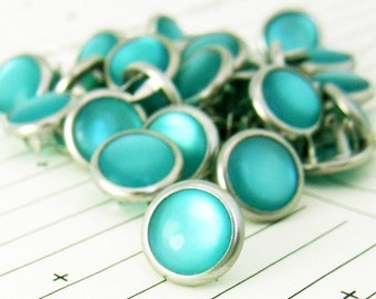 24 Teal Cowgirl Snaps Pearl Prong Western Snaps