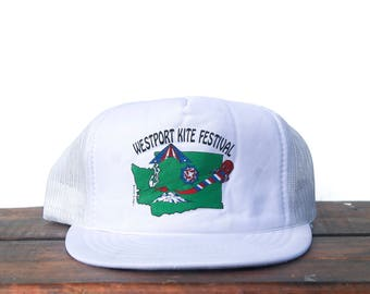 Vintage Trucker Hat Snapback Hat Baseball Cap Westport Kite Festival Washington State Pacific Northwest