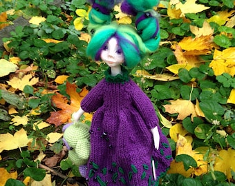 Green purple hair interior art doll with puppy Lovely girl OOAK Single copy toy Original women gift Female room decor Collectable craft doll