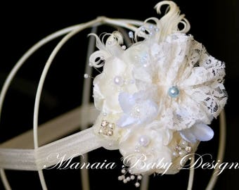 Ivory Vintage Headband with Light Blue Accents