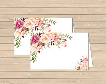 Boho Floral Printable Food Tent Cards Place Cards, Pink Floral Buffet Place Cards, DIY Food Table Signs, Boho Decor, Instant Download 308-W