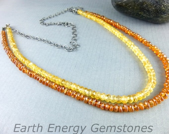 Citrine Necklace, Long Citrine Double Strand Necklace, Attracts Wealth & Prosperity, November Birthstone, Chakra Energy Necklace