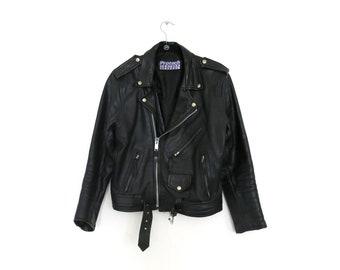 Motorcycle Jacket / Men's Black Leather Motorcycle Jacket / 38 Small