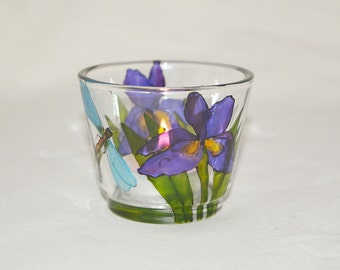 Iris and dragonfly design candle cup, hand painted glass, tea-light holder, glassware