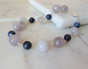 Dendritic Opal And Lapis Stone Bracelet