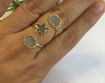 Triple druzy ring, druzy gold ring, star druzy ring, druzy star gold ring, druzy stack ring, druzy statement ring