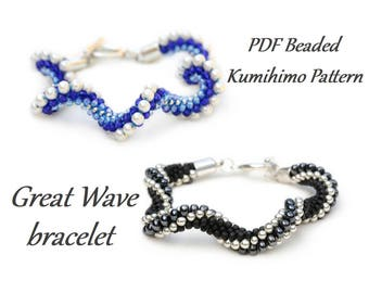 PDF Beaded Kumihimo Pattern - Great Wave Kumihimo bracelet tutorial – bead layout instruction
