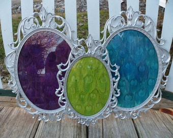 Oval Filigree Frame Set with Dyed Peacock Feathers
