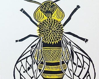 Honey bee woodcut print