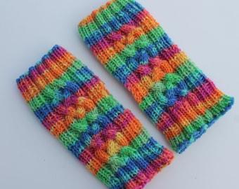Hand Knit Fingerless Children Mittens. Fingerless Girl Wool Mitts. Colorful Children Mittens. Striped Fingerless Mittens.
