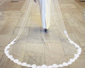 Cathedral, Chapel, or Waltz Authentic FRENCH ALENÇON LACE Wedding Veil, Couture-Quality  - Julia