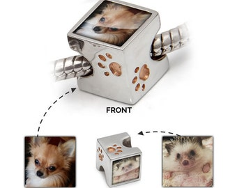 Pet Photo Charm – Paw Prints Bead to fit Pandora Bracelet – Personalised Jewellery Gift for Cat Lover – 925 Silver & Rose Gold