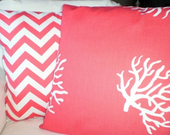 Coral Chevron Nautical Pillow Covers, Decorative Throw Pillows, Cushion Covers, Coral White Beach Decor Patio Couch Set of Two Various Sizes