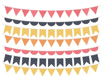 Bunting Clip Art - Pink, Yellow, Orange and Black, Banner Clipart, Commercial Use, Instant Download