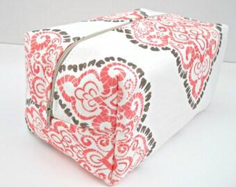 Coral Damask Makeup Bag - Make up Bag - Water Resistant Cosmetic Bag
