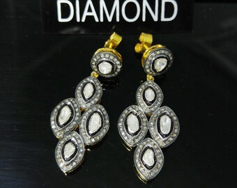 Pave Diamond Earrings -  Pave Earrings - 925 Sterling Silver & 22K Gold Plating - Rose Cut Diamond - Women Earrings - Gift for her