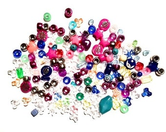 Supplies - Large Lot of Assorted Plastic Beads - Kids Crafts and More - Colorful Mix - FUN