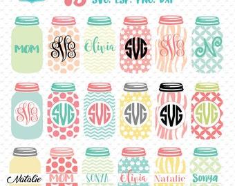 Mason jar monogram frames, mason jar svg, mason jar monogram svg, mason jar design,mason jar decal ,    Id#cl8