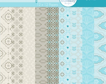 12 x 12 Digital Paper Pack for Photographers, Scrapbooking, and Card-Making (Sandy Beach)