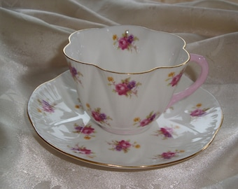 Shelley Small Hulmes ROSE Tea Cup and Saucer #2334