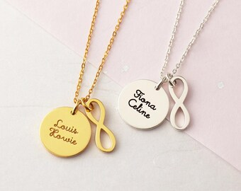 Kids Name Necklace - Infinity Charm Necklace - Custom Name Necklace - Mother Gift - New Baby Gift