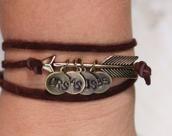 Arrow Wrap Bracelet,Name bracelet,charm bracelet,wrap bracelet,personalized jewelry,kids name jewelry,arrow bracelet