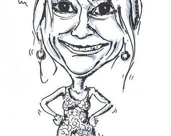 Caricature with black marker on paper-from photo