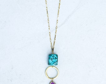 Turquoise necklace Layered necklace Chain necklace Gold chain necklace Necklace Delicate necklace Dainty necklace Simple necklace Turquoise