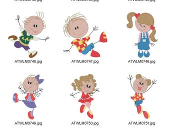 Sticky-Little-Kids ( 10 Machine Embroidery Designs from ATW ) XYZ17B