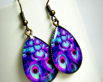 purple peacock drop earrings, colorful jewelry, bohemian earrings, drop dangle earrings, gift for her