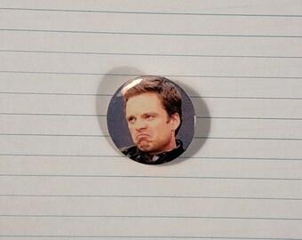 Grumpy Sebastian Stan 1.25 in. Pin Back Button