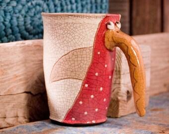 Handmade ceramic mug, Mugs pottery, handmade mug, Vintage pottery, Handmade mug, Red billed birdy mug