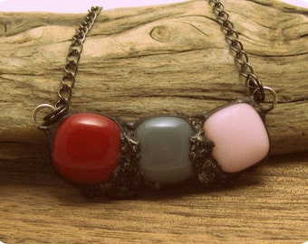 Urban Artifact Mini in Pink & Red | Fused Glass | Eclectic | Gift Under 50 | Oxidized Chain