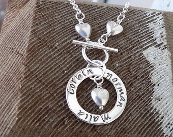 LIMITED TIME SALE Solid Sterling Silver Mother's Heart Circle - Front Toggle - Font Choices - Hand Stamped - Mom Name Necklace - Custom Mess