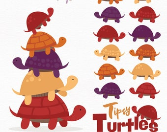 Professional Turtle Stack Clipart in Autumn - Turtle Clipart, Turtle Vectors, Autumn Turtles