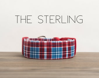 "Blue & Red Dapper Plaid Dog Collar ""The Sterling"""