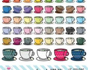 45 Doodle Cup of Tea Clipart. Personal and comercial use.