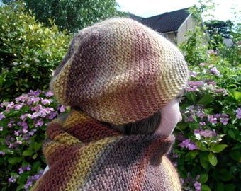 Chocolate Banana hat / beanie, scarf, fingerless gloves set, diagonally striped, 100% wool, shades of yellow, brown and beige, multicoloured