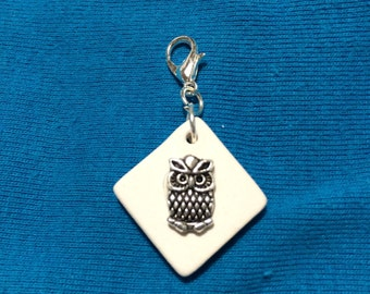 ONLY ONE LEFT!! Owl charm on bisque ceramic Essential Oil Diffuser zipper pull charm.