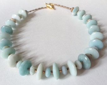 Natural Semiprecious Gemstone Rondel Amazonite, Bronze Beads and Gold Twig Toggle Clasp Statement Necklace--Serene--by Lady Grey Beads