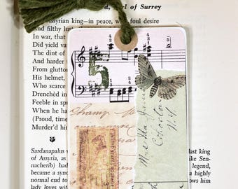 Collage Bookmark * gift tag* packaging * butterfly * collage * nature * journaling tags * altered art