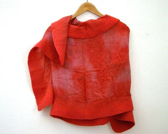 coral red felted silk shawl