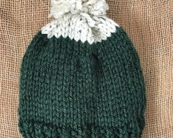 Everett Pom-pom Hat/ Evergreen and Cream Two-toned Kid's Winter Hat//Winter Hat for Kids// Winter Hat for Her/Giftsunder15/ Holiday