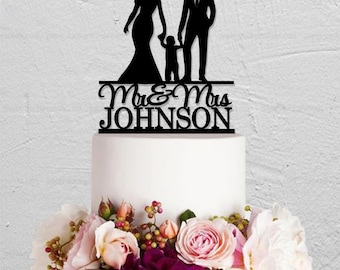 Wedding Cake Topper,Bride And Groom Cake Topper,Family Cake Topper with Child,Custom Cake Topper,Couple Cake Topper,Mr And Mrs Cake Topper