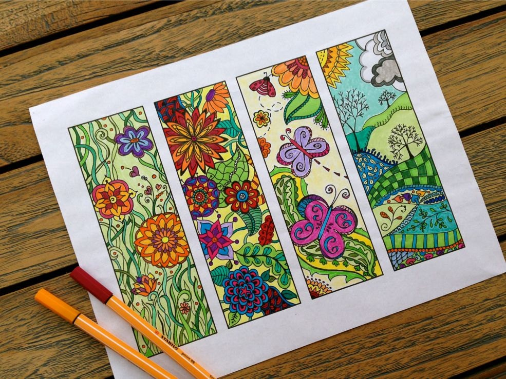 Coloring Pages Using Numbers : Bookmarks to print and color zentangle bookmark coloring