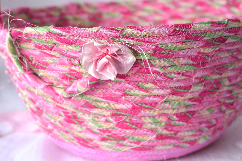 Elegant Easter Basket Pink Flower Girl Basket Handmade
