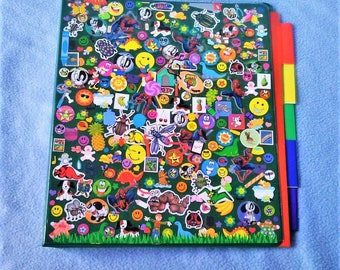 Decora Fashion Inspired Stickered Dogs/Smiley Face/Bugs/Spiderman Themed Binder